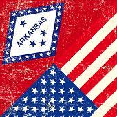 Arkansas and USA grunge Flag.