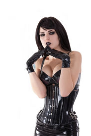 pic of fetish clothes  - Portrait of gothic girl wearing latex clothes - JPG