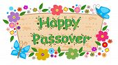 stock photo of passover  - Happy Passover banner with flowers and butterflies - JPG