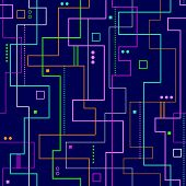 image of geometric shapes  - pink blue green and yellow linear abstract illustration on dark blue background - JPG