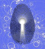 stock photo of higgs boson  - Fingerprint lock and atomic particles - JPG