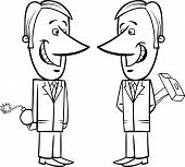 stock photo of lobbyist  - Black and White Concept Cartoon Illustration of Two Businessmen or Politicians Pretending Friendship - JPG