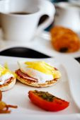 foto of benediction  - Delicious breakfast with eggs Benedict - JPG