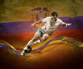 Abstract waves aroun soccer player on the national flag of Ecuador