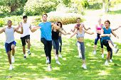 Group of multiethnic people exercising in the park