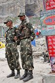 AMARNATH, JAMMU & KASHMIR, INDIA - JULY 18, 2006:Police and security units of Jammu & Kashmir provid