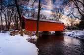 picture of covered bridge  - Winter view of Loy - JPG