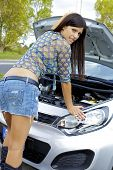 Gorgeous Woman With Broken Engine Worried
