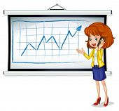 Illustration of a woman using a cellphone in front of the whiteboard on a white background