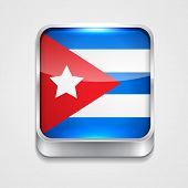 vector 3d style flag icon of cuba