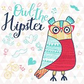 Owl the hipster in childish style. Cute cartoon card with bird and popular signs: bicycle, mustache, heart, anchor in bright colors