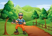 Illustration of a lumberjack near the road carrying an axe