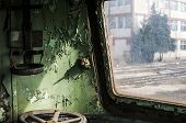 Abandoned rail-car cabin