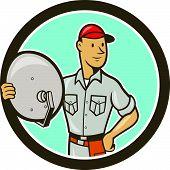 Cable Tv Installer Guy Cartoon