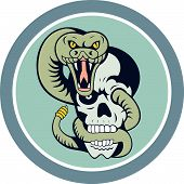 stock photo of snake-head  - Illustration of a rattle snake viper serpent head facing front curling around skull set inside circle on isolated background done in cartoon style - JPG