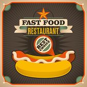 Retro fast food poster with hot dog. Vector illustration.
