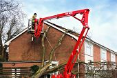 Tree surgeon working up cherry picker repairing storm damaged roof after an uprooted tree fell on to