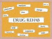 Drug Rehab Corkboard Word Concept