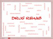 foto of opiate  - Drug Rehab Word Cloud Concept on a Whiteboard with great terms such as patients addicts help and more - JPG