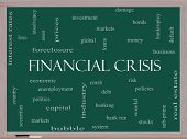 Financial Crisis Word Cloud Concept On A Blackboard