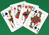 Fours Queens playing cards on a green background. Each card is full and isolated