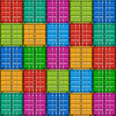 Freight shipping, stacked cargo containers. Seamless vector.
