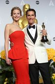 LOS ANGELES - MAR 2:: Jennifer Lawrence, Matthew McConaughey  in the press room at the 86th Annual A