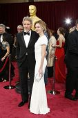 LOS ANGELES - MAR 2:: Harrison Ford, Calista Flockhart  at the 86th Annual Academy Awards at Hollywood & Highland Center on March 2, 2014 in Los Angeles, California