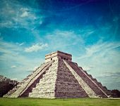 Vintage retro hipster style travel image of travel Mexico background - Anicent Maya mayan pyramid El