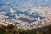 Town Tiruvannamalai with Arulmigu Arunachaleswarar Temple, Tamil Nadu, India. Aerial view.