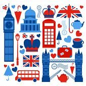 stock photo of british culture  - London symbols collection of tower bridge big ben and telephone booth culture isolated vector illustration - JPG