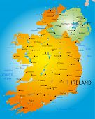 vector detailed map of Ireland country