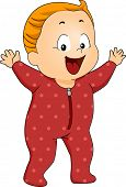 Illustration of a Happy Baby Boy Wearing Footie Pajamas