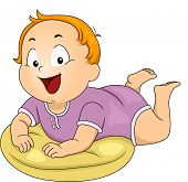 Illustration of a Happy Baby Boy Propped Up by a Pillow