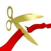 Gold Scissors Cutting Red Ribbon
