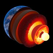 Earth core structure illustrated with geological layers according to scale - isolated on black (Elem