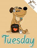 stock photo of weekdays  - Tuesday dog weekdays hipster vector illustration calendar set - JPG