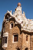 Barcelona Park Guell Fairy Tale Mosaic House On Entrance