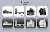 Landmarks of Prague. Set of monochrome icons. Editable vector illustration.