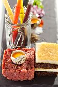 Beef Tartare with Quail Eggs Yolk