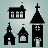 pic of church  - four different black silhouettes of churches in blue background - JPG