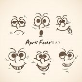Happy Fool's Day funky concept with funny faces set on abstract background.