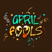 Happy Fool's Day funky concept with colorful stylish text on brown background.