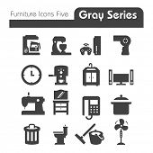Appliances and Furniture Icons gray series Five