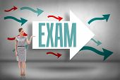 The word exam and woman in a dress holding her hand up against arrows pointing