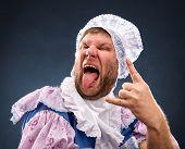 Strange man sticking out tongue