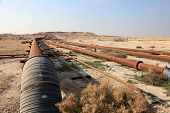 image of bahrain  - Oil and gas pipeline in the desert of Bahrain Middle East - JPG