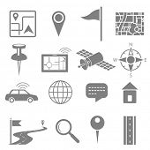 illustration of navigation icon set for GPS application