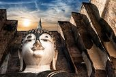 Ancient Architecture Of Buddhist Temples In Sukhothai Historical Park. Statue Of  Buddha Phra Achana