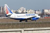 Transaero Airlines Boeing 737-524 aircraft preparing for take-off from the runway